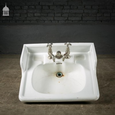 French Enamelled Cast Iron Basin with Original Taps