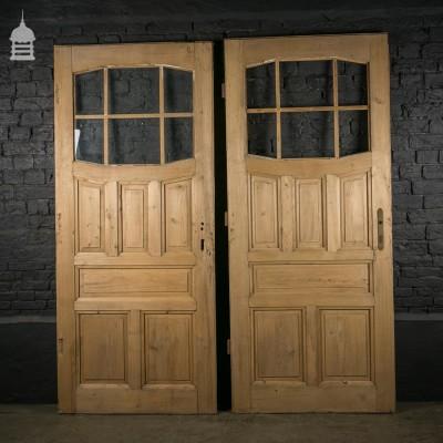 Pair of Reclaimed Glazed Pine Panel Doors