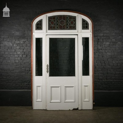 Large 19th C Mahogany Entranceway Front Door with Stained Glass