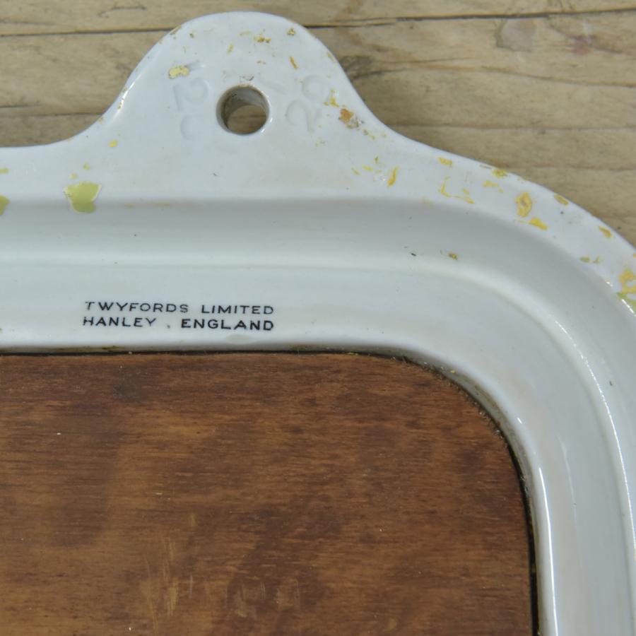 antique ceramic framed mirror - oblong