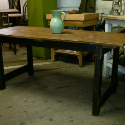 vintage pine mill type kitchen table
