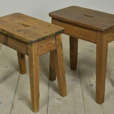 pair antique pine and mahogany factory stools