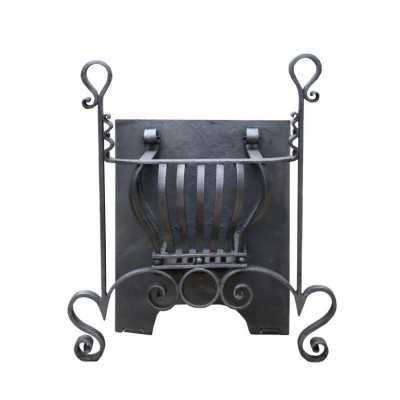 19th C. Wrought Iron Fire Grate In Arts And Craft Style