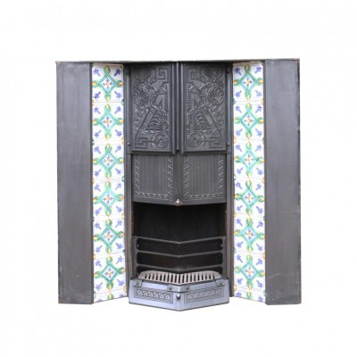 Reclaimed Arts And Crafts Style Tiled Fire Insert