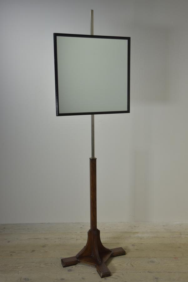 opticians mirror on oak stand