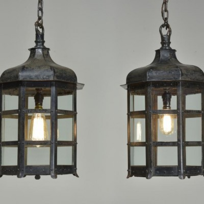 pair of antique octagonal iron lantern