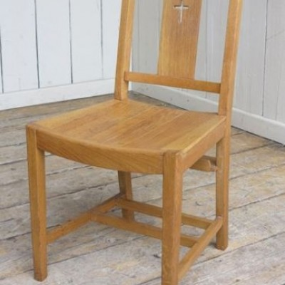 Vintage Oak Slatted Church Chairs With Cross in the Back