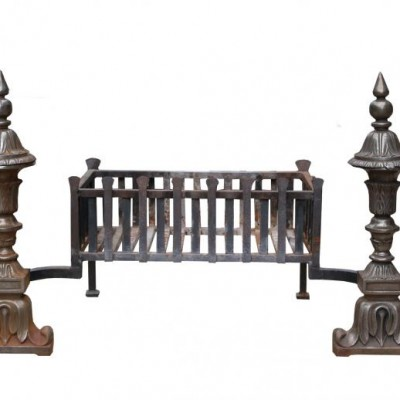 20th Century Wrought And Cast Iron Fire Grate