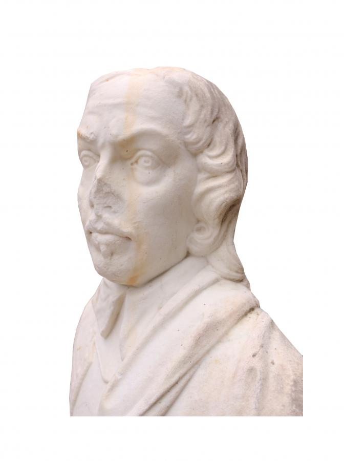 For Sale 19th C English Statuary Marble Bust Of Oliver