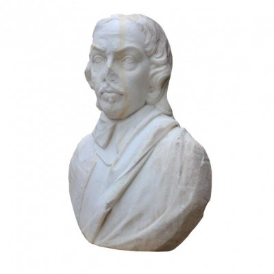 19th C. English Statuary Marble Bust Of Oliver Cromwell