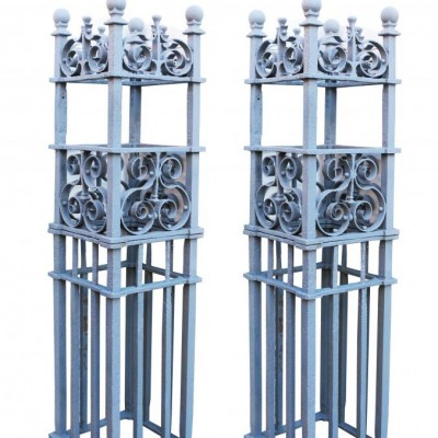 Pair Of Circa.1854 Wrought Iron Gate Piers/posts