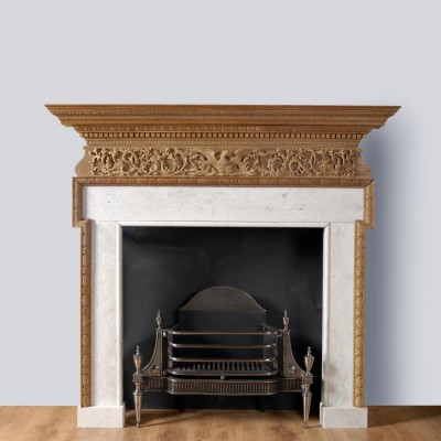 18th century English carved pine chimneypiece