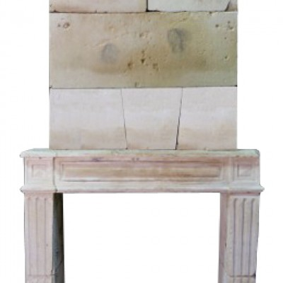 An Antique 18th Century French Stone Trumeau Fire Surround