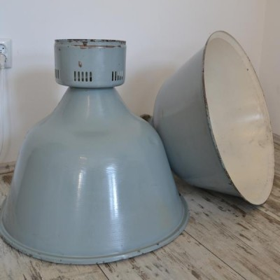 Large Vintage Real Industrial Lights / Retro Factory Lamps x 2