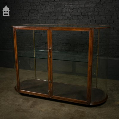 19th C Mahogany Curve Ended Display Cabinet with Glass Shelf
