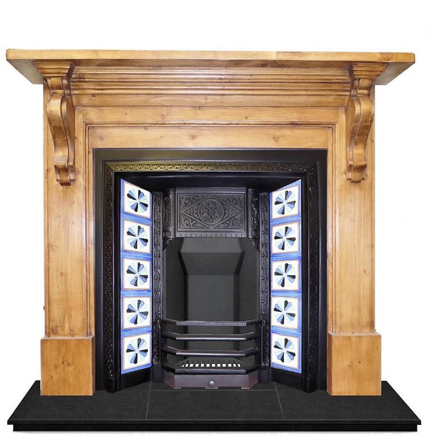 rti 591 antique victorian cast iron tiled fireplace insert