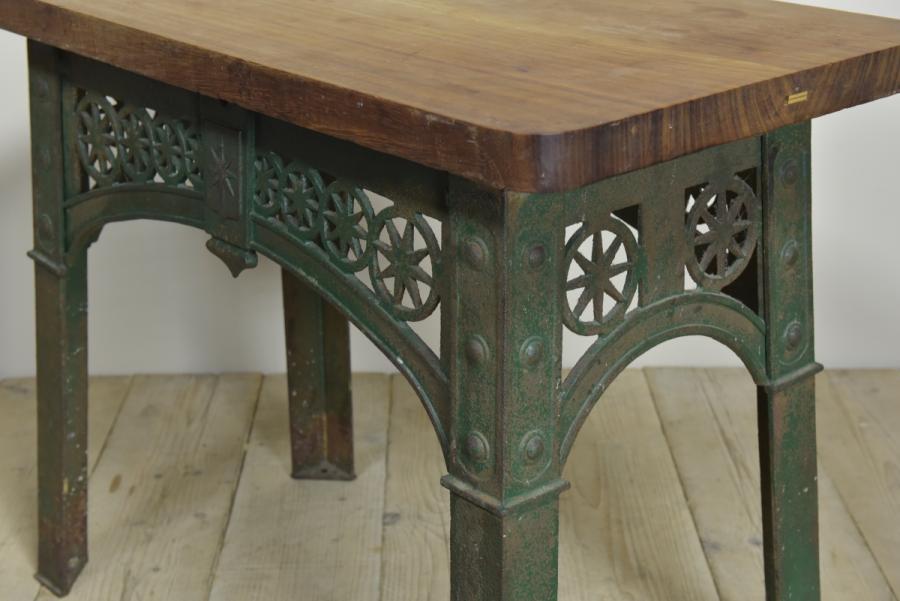 cast iron and teak kitchen center table