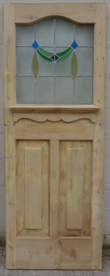 For Sale 1930s Pine Front Door With Stained Glass Salvoweb Uk