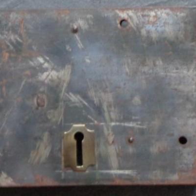 Very large Victorian brass & steel rim lock with original keep