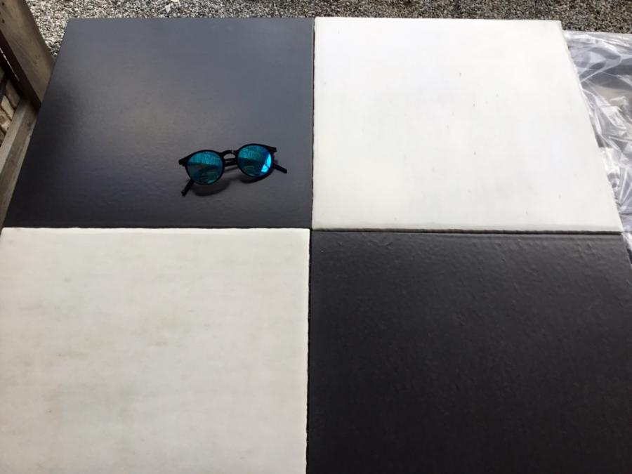Italian  chessboard Carrara & Black Slate