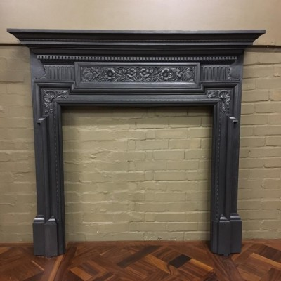 Antique Coalbrookdale Cast Iron Fireplace Surround