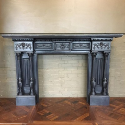 Grand Antique Cast Iron Fireplace Surround