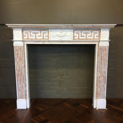 Antique Statuary and Spanish Brocatelle Marble Fire Surround