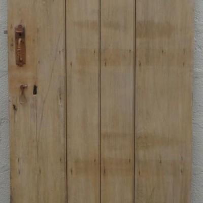19th century 4 plank beaded pine ledged door with original latch