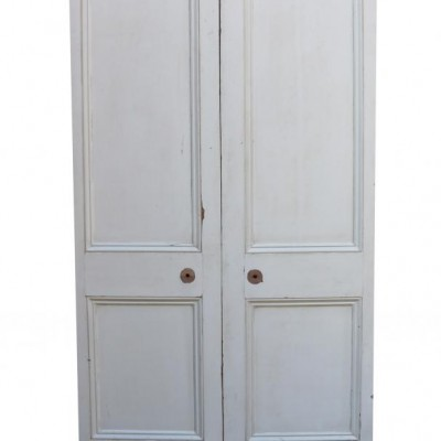 Antique Painted Pine Interior Double Doors