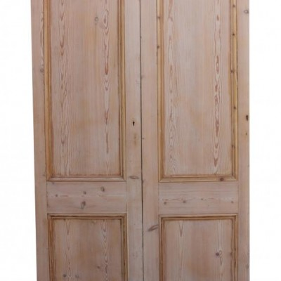 Pair Of Stripped Pine Interior Room Dividing Double Doors