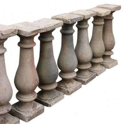 Set Of Nine 19th Century English Carved Yorkstone Balustrades