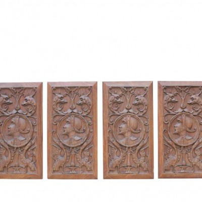 Set Of Four Early 20th Century Carved Oak Panels