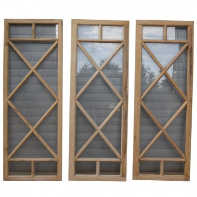Three glazed pine windows lights