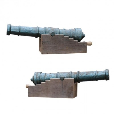 Pair Of Reclaimed Early 20th Century Cast Iron Decorative Cannon
