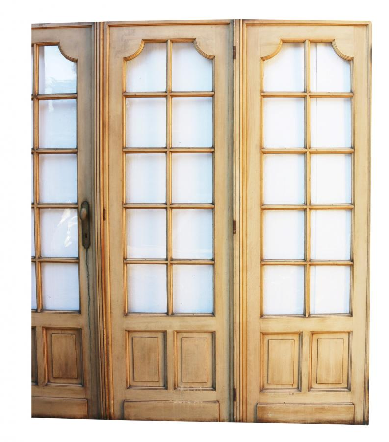 Set Of Four Painted Pine French Room Dividing Doors Circa. 1900