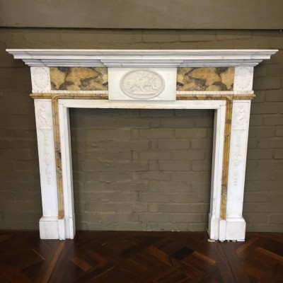 Antique Carved Sienna Marble Fireplace Surround