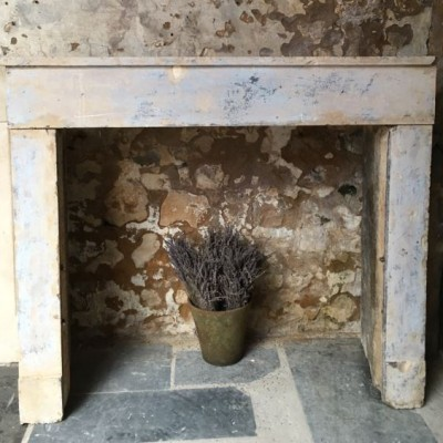 Antique Rustic French Farmhouse Fireplace