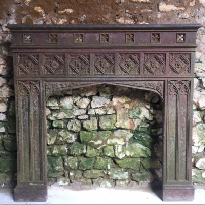 Antique English Gothic Revival Cast Iron Fireplace