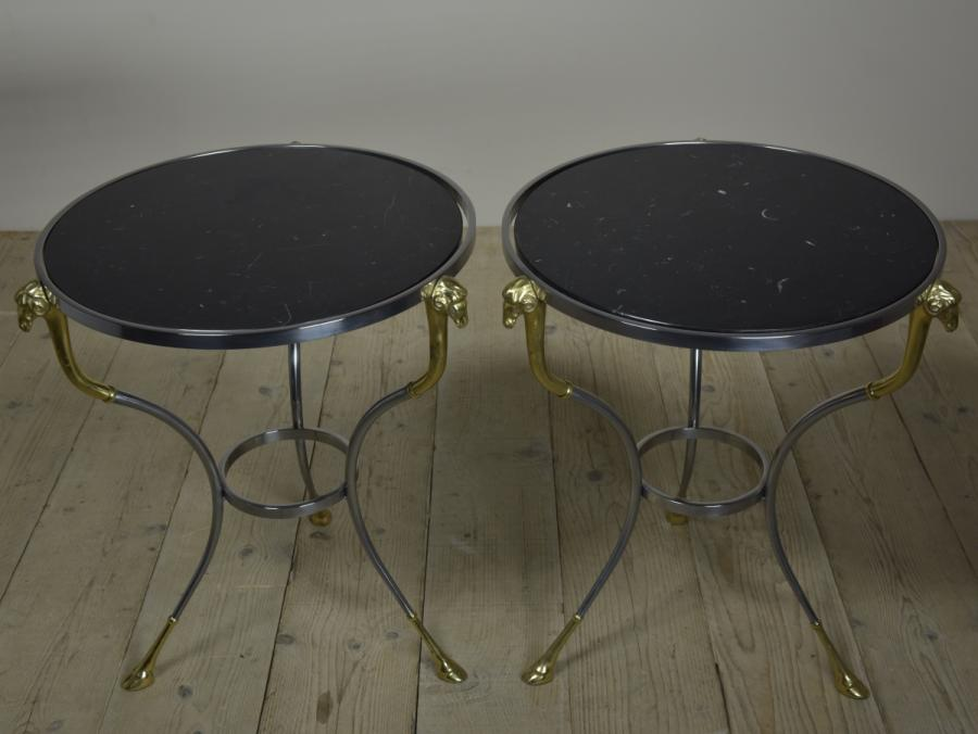 pair italian steel and brass occasional tables gueridons
