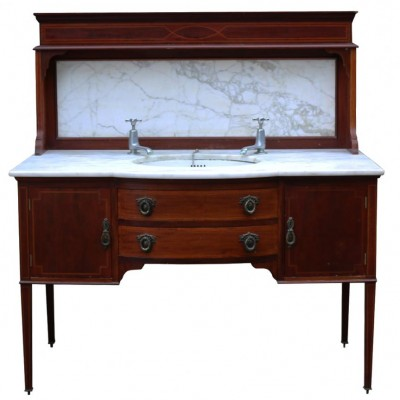 Very Rare Mahogany And Carrara Marble Washstand Circa. 1900