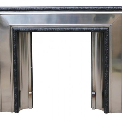 Art Deco Stainless Steel And Cast Iron Fire Grate