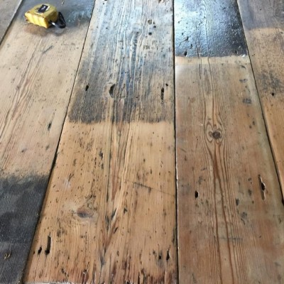 Original Georgian Hand-Adzed Pine floorboards.