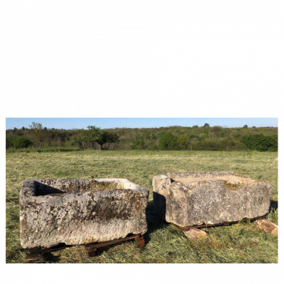Pair Of Rustic Antique French Limestone Troughs