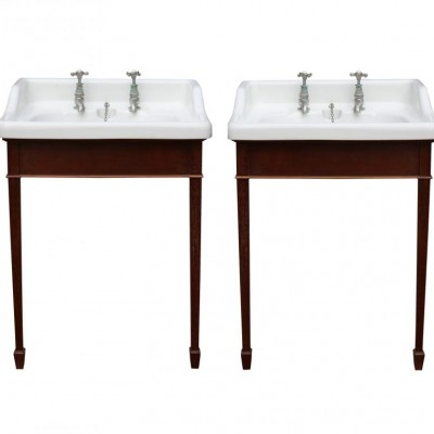 Pair Of Very Rare John Bolding 'ondo'Basins With Mahogany Stands