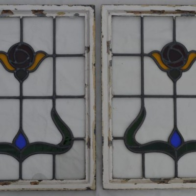 2 leaded light stained glass windows. R249c