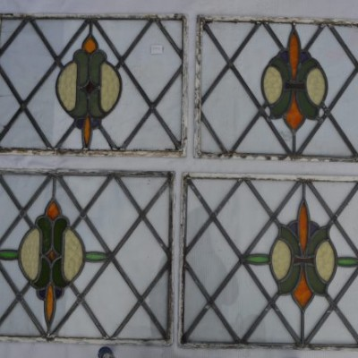 4 SCRAP leaded light stained glass window panels. S267