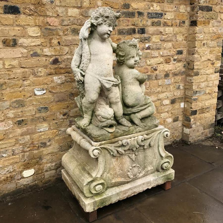 Reclaimed Portland Stone Cherubs Fountain on Plinth