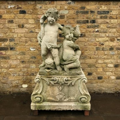 Reclaimed Portland Stone Cherubs Fountain on Plinth