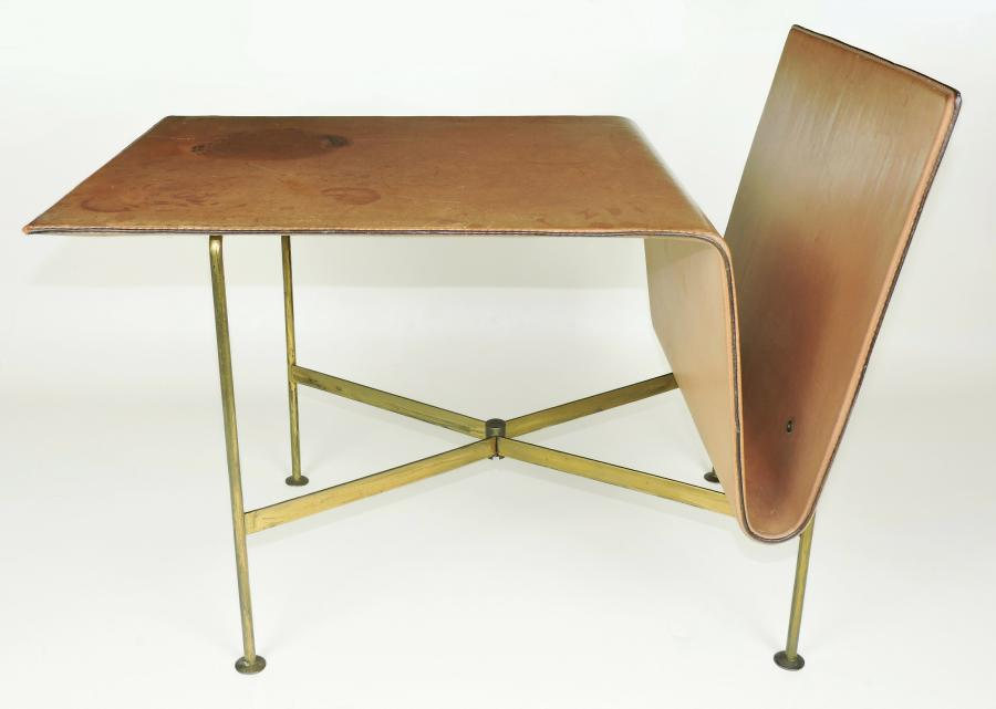 Stitched leather magazine rack table gilt brass, adnet style