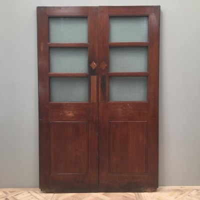 Teak Copper Light Double Doors- 138cm x 210cm